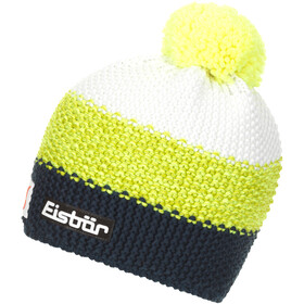 Eisbär Star Pompon Hat SP Men dkl.petrol/lime mottled/white